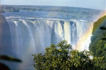 Victoria falls and rainbows in the foreground is zambia